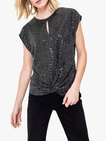 Oasis Sequin Jersey Top, Black/Multi