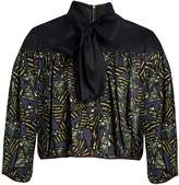 Kolor Tie-neck geometric-print satin top