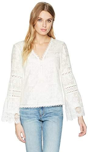 Nanette Lepore Women's Tapas Long Sleeve Lace Embroidered Top
