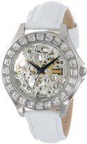 Burgmeister Merida Women's Automatic Watch with Silver Dial Analogue Display and White Leather Strap BM520-106