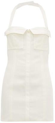 Jacquemus Halterneck Cotton-canvas Mini Dress - Womens - Ivory