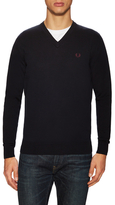 Fred Perry Cotton V-Neck Sweater