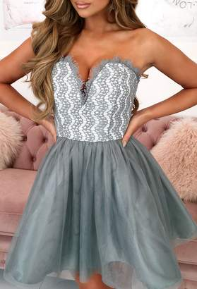 Pink Boutique Limited Edition Ice Princess Grey Lace Mini Dress With Tulle Skirt