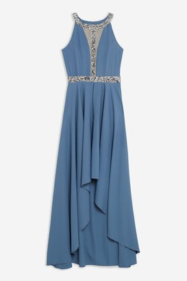 Lace & Beads Womens **Blue Embellished Maxi Dress By Blue