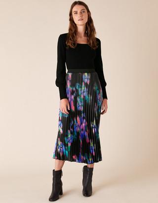 Monsoon Blur Print Pleated Satin Midi Skirt Black