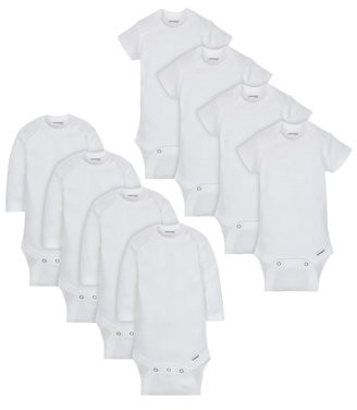 Onesies Brand Baby Boy or Girl Gender Neutral White Bodysuits Variety Short Sleeve & Long Sleeve, 8-Pack