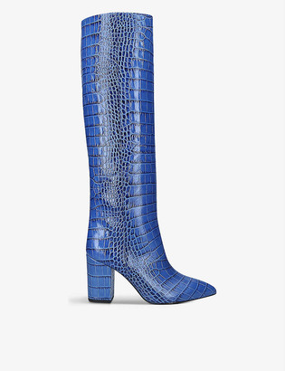 Paris Texas Block-heel crocodile-embossed leather knee-high boots