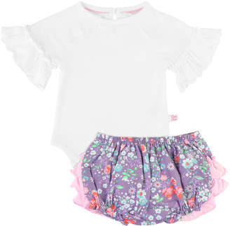 RuffleButts Flutter Sleeve Bodysuit w/ Floral Print Bloomers, Size 0-24 Months