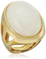 Kenneth Jay Lane Polished Gold Open Side and White Quartz Center Ring, Size 5-7