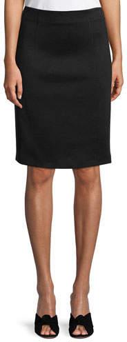 Piazza Sempione Grosgrain-Panel Straight Slim Knee-Length Skirt