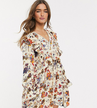 Y.A.S skater dress with ruffle trims in beige floral