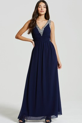 Little Mistress Navy Embellished Plunge Maxi Dress