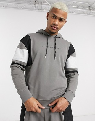 Armani Exchange colourblock logo hoodie in grey