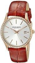 Akribos XXIV Women's AK883BR Round Silver Dial Three Hand Quartz Rose Gold Tone Strap Watch