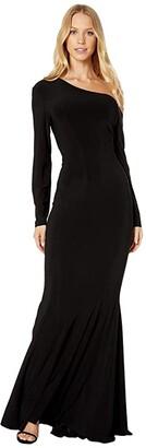 KAMALIKULTURE by Norma Kamali Long Sleeve Drop Shoulder Fishtail Gown (Black) Women's Dress
