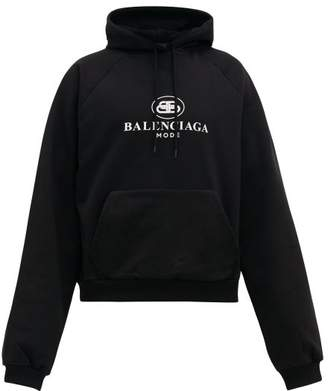Balenciaga Bb Mode Logo Print Cotton Hooded Sweatshirt - Mens - Black