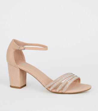 New Look Girls Suedette Diamante Block Heel Sandals