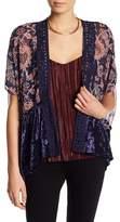 Jolt Velvet Trim Floral Print Kimono
