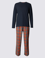 M&s Collection Pure Cotton Orange Checked Navy T-shirt & Trouser Set