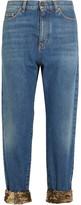 Saint Laurent Cropped Sequin-embellished High-rise Boyfriend Jeans - Mid denim