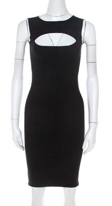 DSQUARED2 Black Stretch Cotton Cutout Detail Sleeveless Sheath Dress XS