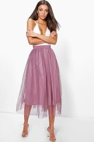 boohoo Tall Emily Boutique Tulle Mesh Midi Skirt mauve