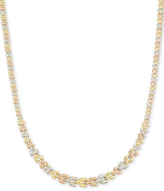 Italian Gold Tri-Tone Graduated Link Necklace in 14k Tri-Color Gold