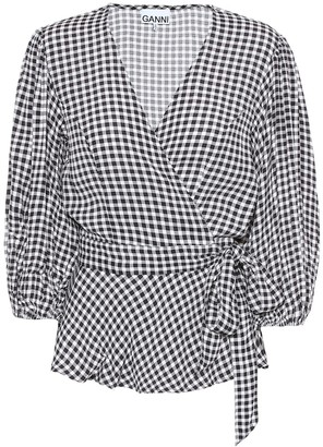 Ganni Gingham wrap top