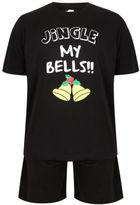 Yours Clothing BadRhino Plus Size Mens Top Jingle Bells Print T Plain Shorts Loungewear Set