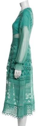 Three floor Lace Pattern Midi Length Dress w/ Tags Green