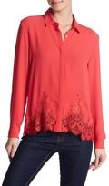 The Kooples Lace Trim Button Up Shirt