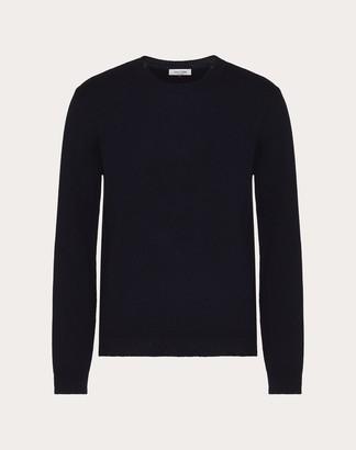 Valentino Crew-neck Sweater Man Navy Cashmere 100% L