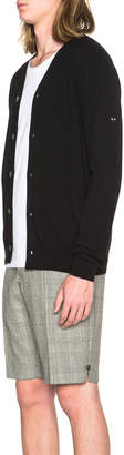 Comme des Garcons Lambswool Cardigan with Small Black Emblem Sleeve in Black | FWRD