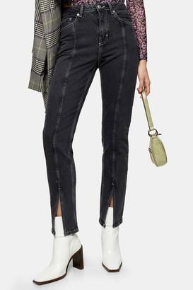 Topshop Wash Black Split Hem Straight Jeans