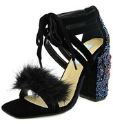Betsey Johnson Luca Women Open Toe Canvas Black Sandals.
