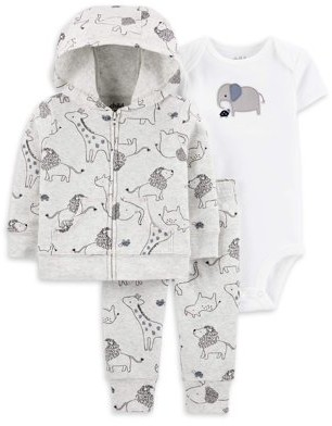 Child of Mine by Carter's Baby Boy Outfit Jacket, Short Sleeve Bodysuit & Pants, 3-Piece Set