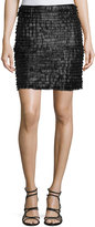 Max Studio Tiered Fringe Leatherette Mini Skirt, Black