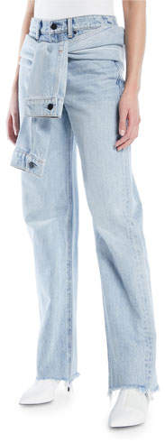 Alexander Wang Stack Tie-Front Wide-Leg Jeans