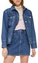 Topshop Crystal Studded Denim Jacket