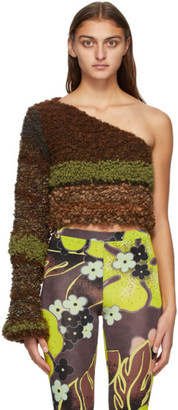 Louise Lyngh Bjerregaard Brown and Green Boucle Single-Shoulder Sweater