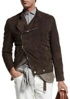 Brunello Cucinelli Asymmetric-Zip Suede Moto Jacket, Brown