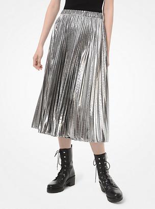 Michael Kors Foil Pleated Midi Skirt