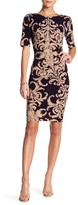 Connected Apparel Printed Crew Neck Dress