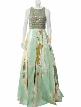 Alberto Makali Printed Long Dress w/ Tags Gold