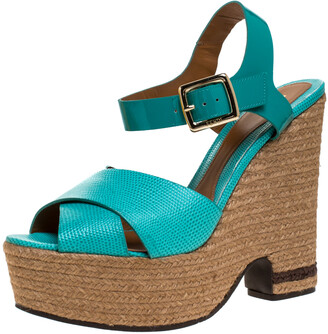 Fendi Green Patent And Lizard Leather Wedge Espadrille Platform Ankle Strap Sandals Size 40