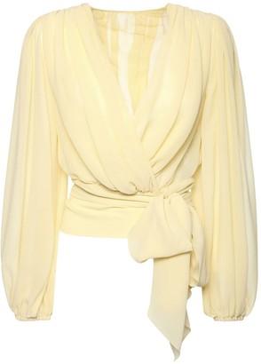 Dolce & Gabbana Wrap Style Sheer Silk Chiffon Shirt