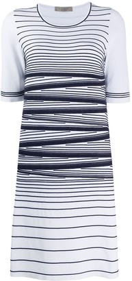 D-Exterior Stripe Detail Stretch Knit Dress