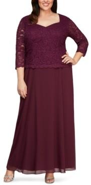 Alex Evenings Plus Size Lace-Bodice Gown
