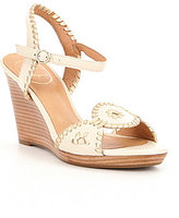 Jack Rogers Clare Metallic Leather Whipstitchig Detail Wedge Sandals