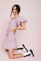 Thumbnail for your product : Nasty Gal Womens Gingham Puff Sleeve Mini Dress - Purple - 6